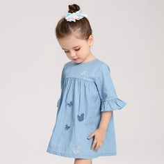 Toddler Denim Dress Butterfly