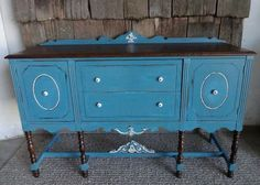 Vintage buffet painted in a teal blue and distressed. http://createins… :: Hometalk
