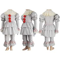Kids children Stephen King's It 2017 film evil clown Pennywise cosplay halloween costume supervillain jester make-up carnival costume outfit toys gift