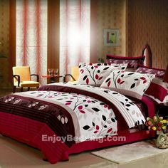 Tree Top Full Size Cotton Bedding Sets in red and white - EnjoyBedding.com