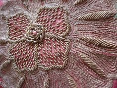 Indian textile...Metal embroidery thread & bugle beads