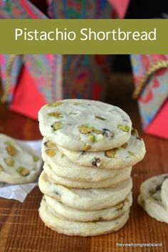 Pistachio Shortbread Cookies ~ a classic buttery shortbread slice and bake cookie loaded with fresh pistachios! Pistachio Cookies, Walnut Cookies, Coconut Cookies, Shortbread Cookies, No Bake Cookies, Pistachio Recipes, Baking Cookies, Slice And Bake Cookie Recipe, Cookie Recipes