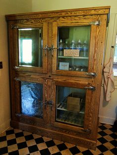 What a great antique ice box!!!  Love this!