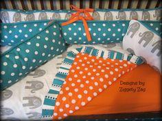 Turquoise Orange Elephant Baby Crib Bedding