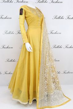 Yellow Soft Silk Outfit With Gorgeous Work Dupatta Light Yellow Soft Silk Outfit With Gorgeous Work Dupatta Indian Dresses Online, Indian Gowns Dresses, Indian Fashion Dresses, Pakistani Dresses, Indian Outfits, Brocade Dresses, Flapper Dresses, Gowns Online, Designer Anarkali Dresses