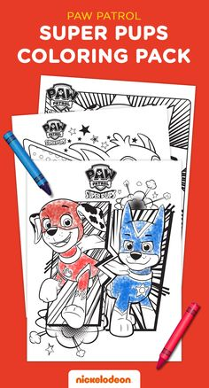 If your preschooler loves the PAW Patrol, they probably loove the pups, amped-up, as the Super Pups! Try this fun, confidence boosting activity that you and your child can totally do together: First, print and color in Chase and Marshall in the all-new coloring sheet printables below. Then, grab some extra paper so you can each draw yourselves as super heroes, just like the pups! What would be your child's special power? What is their favorite thing about themselves? Play and find out!