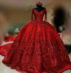 Red wedding dress sequins dress train - Wedding Dress With Sleeves Prom Dresses Long With Sleeves, Beaded Prom Dress, Prom Dresses With Sleeves, Sequin Dress, Formal Dresses, Dress Red, Beaded Lace, Elegant Dresses, Sexy Dresses