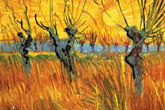 Pollard Willows at Sunset  Series: Fine Art Artist: Vincent van Gogh Period: Post-Impressionist Source Year: 1888  ambroseni.com