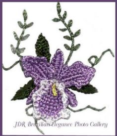 "** ""Orchid"" Brazilian Dimensional Embroidery Pattern @jdr-be"