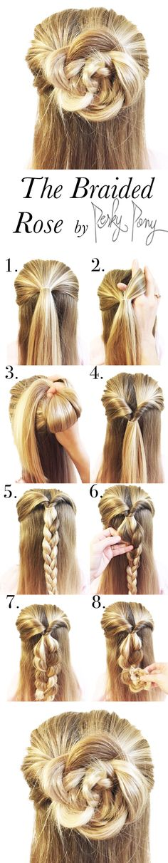 "What an awesome and unique hair style! The Braided Rose looks way more complicated then it is and all you have to do is know how to braid! By taking a normal braid and rolling it up into a ""rose"", you(Pretty Hair Braids)"