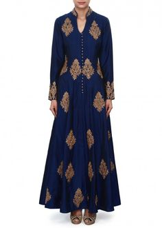 Navy blue suit adorn in zardosi embroidered butti only on Kalki