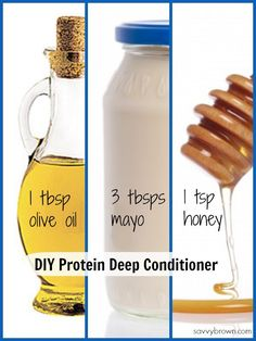 DIY Protein treatment for your hair. Mix it up and apply to damp hair for 30 minutes. Rinse it off.