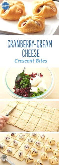 """Cranberry-Cream Cheese Crescent Bites: use pastry dpugh? these one-bite cranberry and jalapeño-cream cheese crescent appetizers are easy to make and sure to be a """"wow"""" with your guests. Finger Food Appetizers, Appetizers For Party, Appetizer Recipes, Delicious Appetizers, Cheese Appetizers, Appetizer Dessert, Vegetarian Appetizers, Freezable Appetizers, Picnic Finger Foods"""