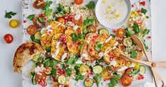 On the table in under 20 minutes, this easy vegetarian haloumi salad is perfect when time is short. Creamy Pasta Salads, Creamy Potato Salad, Easy Pasta Salad, Easy Salads, Summer Salads, Summer Food, Healthy Salads, Healthy Food, Salads