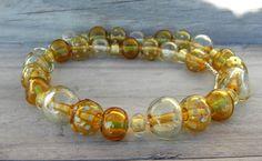 HONEY Handmade Bohemian glass necklace - lampwork - honey color - sterling silver - original - light blue dots.