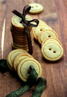 Great idea for Christmas gifts.   Two circular cutters, one slightly smaller than the other, then drinking straws or tiny cutters for the holes.  Bake, cool, then thread together with some festive ribbon.