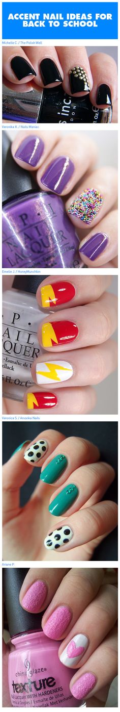 Accent Nail Ideas For Back To School