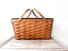 Antique Woven Picnic Basket Two Piece Set  Wood by LaRouxVintage, $62.00