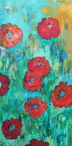 Wild Poppy Garden- Original painting by Maria Pace-Wynters