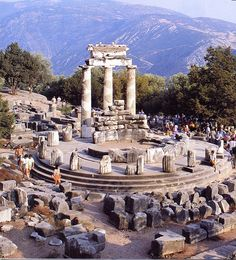 The archæological site at Delphi. This was the most important oracle in the classical Greek world and a major site for the worship of the god Apollo.