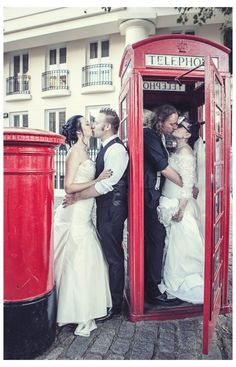 A double wedding at St Katherines Docks, Tower Bridge, London. Photo by Emma Lucy Photography
