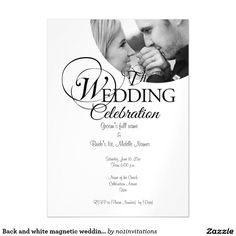 Back and white magnetic wedding invitations magnetic invitations