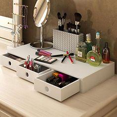 Wooden Makeup Box Cosmetics Organizer Drawers Jewelry Storage - Cosmetic makeup organizer wood countertop organizer by lessandmore