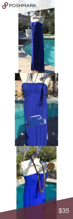 Royal Blue Maxi Tube Dress S & L Color is as pictured. Tube Dress . Can tie around neck or wear in front and tie. Many ways to make this dress different in many ways. SMALL and Large Maniquins wearing large. Dresses Maxi