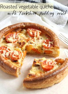 Roasted vegetable quiche with Yorkshire pudding crust (no faffing with pastry!)