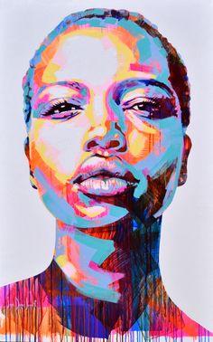 Abstract Portrait Painting, Portrait Acrylic, Black Art Painting, Woman Painting, Portrait Art, Portrait Paintings, Art Sketches, Art Drawings, African Artwork