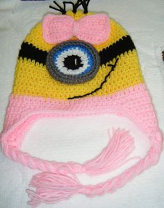 Crocheted Minion Hat Girls Crochet Hat Minion by gentlystitched 2a53cd83ffb