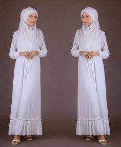 Model baju muslim putih spandex S359