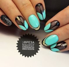 Black Gold Nails Green mint black gold with jewels and glitter nail art spring summer 2017 - Elegant Nails, Stylish Nails, New Year's Nails, Hair And Nails, Fancy Nails, Pretty Nails, Manicure Y Pedicure, Luxury Nails, Nail Accessories