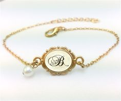 Gold Initial Bracelet Gold Initial Jewelry Gold by aMatterOfChoice