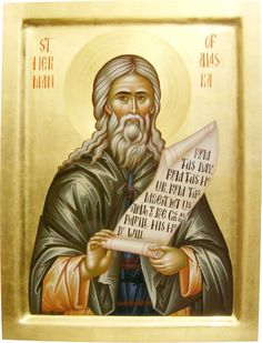 """In 1793, Saint Herman and other 9 monks of Valaam Monastery were missionaries to Alaska. Saint Herman lived on Spruce Island for 40 years. He built a school and cared for the needy. People loved his words; he often said, """"From this day, from this hour, from this minute, let us love God above all."""" He died at 81. His cell was filled with pleasant odor and his face glowed. As many wanted to say goodbye, he was not buried for a month. The body was unchanged. (Aug 9; icon by Daniel Neculae…"""