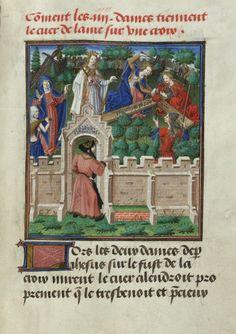 Crucifiement du coeur sur le bois de la croix sous le regard de René d'Anjou. René d'Anjou, Mortifiement de vaine plaisance Jean Le Tavernier, enlumineur, Pays-Bas méridionaux, vers 1460-1465 (entre 1455 et 1467). Parchemin, I + 210 + II f., environ 275 × 200 mm, 9 miniatures Provenance : Isabelle de Portugal et/ou Philippe le Bon Bruxelles, KBR, ms. 10308, f. 76