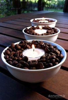 Deko-Kerzenhalter selber machen, Deko mit Kaffeebohnen