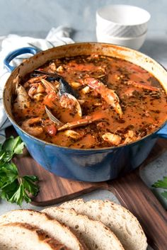 image of a large dutch oven pot of San Francisco cioppino seafood stew made w. -An image of a large dutch oven pot of San Francisco cioppino seafood stew made w. Fish Recipes, Seafood Recipes, Gourmet Recipes, Cooking Recipes, Healthy Recipes, Delicious Recipes, Seafood Dinner, Fresh Seafood, Italian Seafood Stew