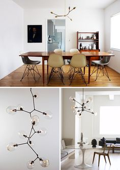 clean and modern = eames chairs with mid century modern wooden table. Home Furniture, Entryway Furniture, Luxury Furniture, Contemporary Furniture, Diy Luminaire, Mid Century Chandelier, Diy Chandelier, Chandeliers, Lounge Lighting