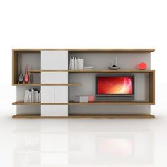 modern tv wall unit 3d obj - TV / Wall Unit Modern Design X_04 Home Media Center... by Studio 3D Plus