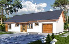 Zdjęcie projektu Nina 2 nova wersja D PLUS Nova, Facade House, Garage Doors, Outdoor Decor, Home Decor, Plants, Houses, Living Room, Projects