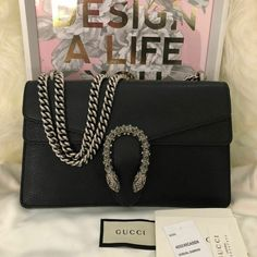1c9173f7011 BNWT Gucci Dionysus New Small Black Leather Shoulder Bag Crystal  fashion   clothing  shoes