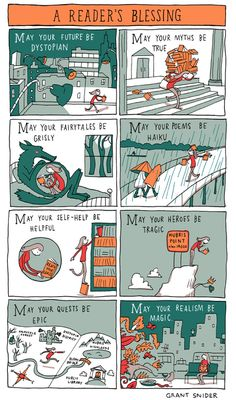 A Reader's Blessing Poster from Incidental Comics is part of Comic books - Signed by Grant and printed on 100 lb Cardstock Online Store Powered by Storenvy I Love Books, Books To Read, My Books, Book Memes, Book Quotes, Book Nooks, Book Fandoms, Book Nerd, Book Lovers