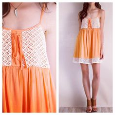 Pleated baby doll dress with diamond lace bodice and hem. Peachy! ⭐️ www.shopartifactsgallery.com
