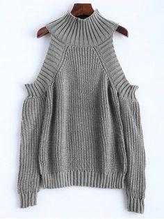 Cold Shoulder Funnel Collar Jumper - GRAY ONE SIZE #cardigansforwomen
