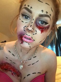 plastic surgery fail! halloween special effects sfx gory black eye barbie inspired. my work!