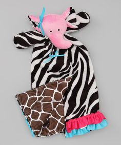Take a look at this Zebra & Giraffe Elephant Plush Toy Blanket by Mud Pie on @zulily today!