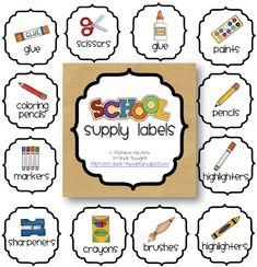 Grade Thoughts: Getting Organized: Classroom Supply Labels. need to make K labels. Classroom Labels, Classroom Organisation, Classroom Supplies, Teacher Organization, Classroom Fun, Kindergarten Classroom, Classroom Management, Organized Teacher, School Supplies