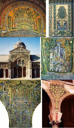 Quelques détails des mosaïques sur fond d'or conservées de l'époque Umayyade de la Grande Mosquée de Damas (705-715).