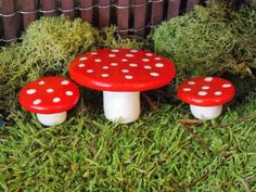 Miniature fairy garden mushroom style table and chairs gnome pixie on Etsy, $9.99